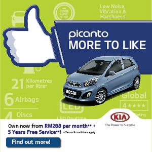 Kia Picanto,5年免费护理*,每月只须RM288++