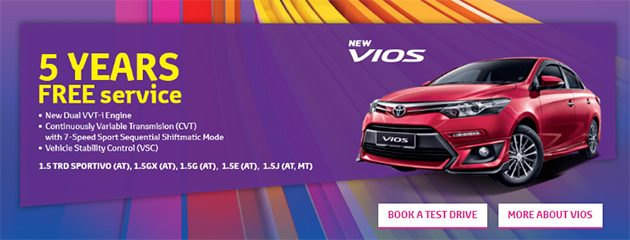 购买 2016 Toyota Vios 可以享有五年无限里数保固和Free Service!