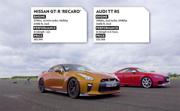 当 TT-RS 对上 GT-R ,直线加速谁会称王?