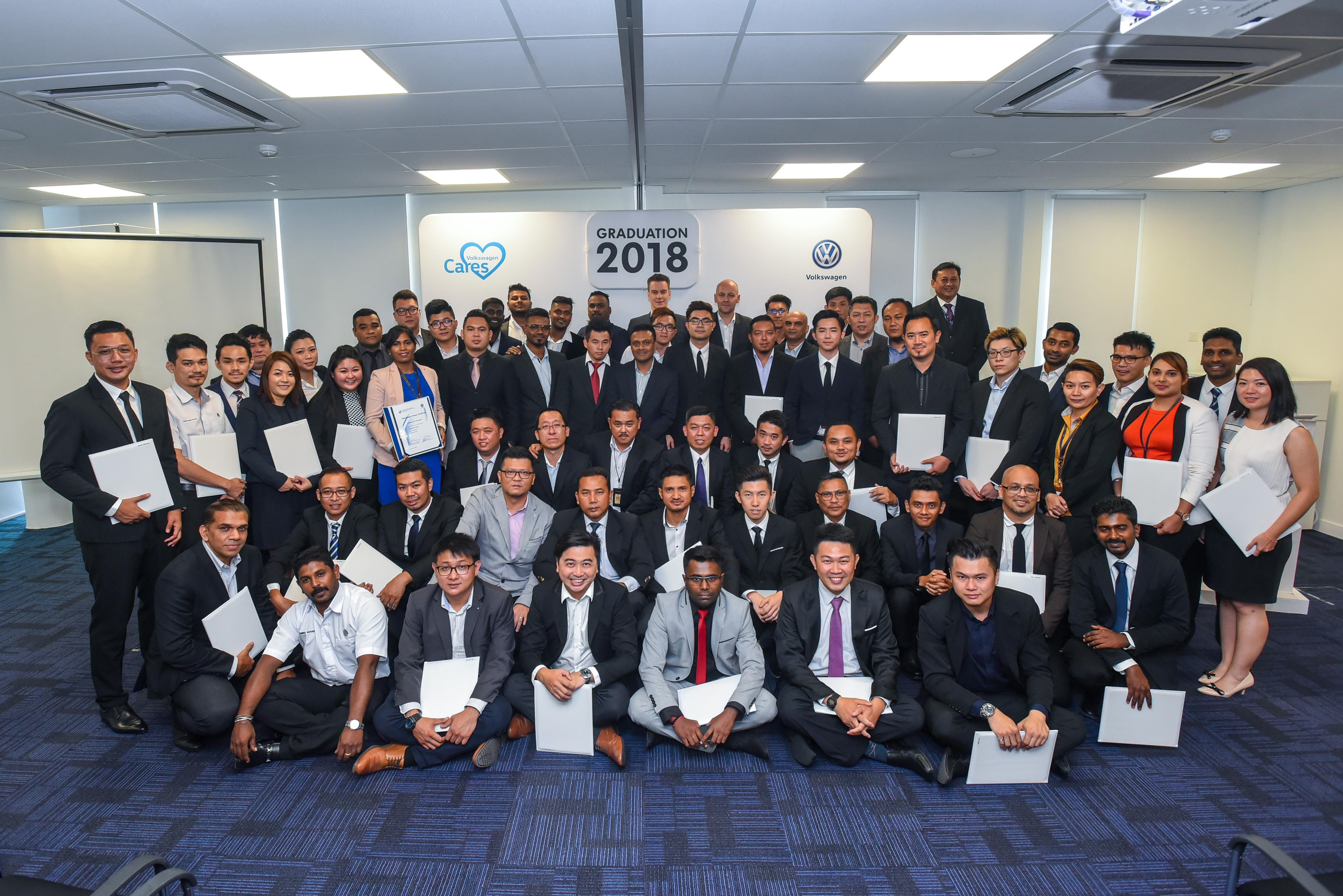 来自代理商的46名学员欢庆从 Volkswagen 汽车学院毕业