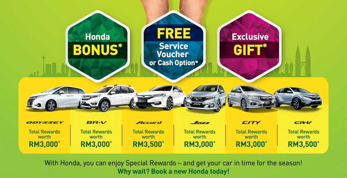 Honda Malaysia 4月大优惠,8大车款享有现金回扣!