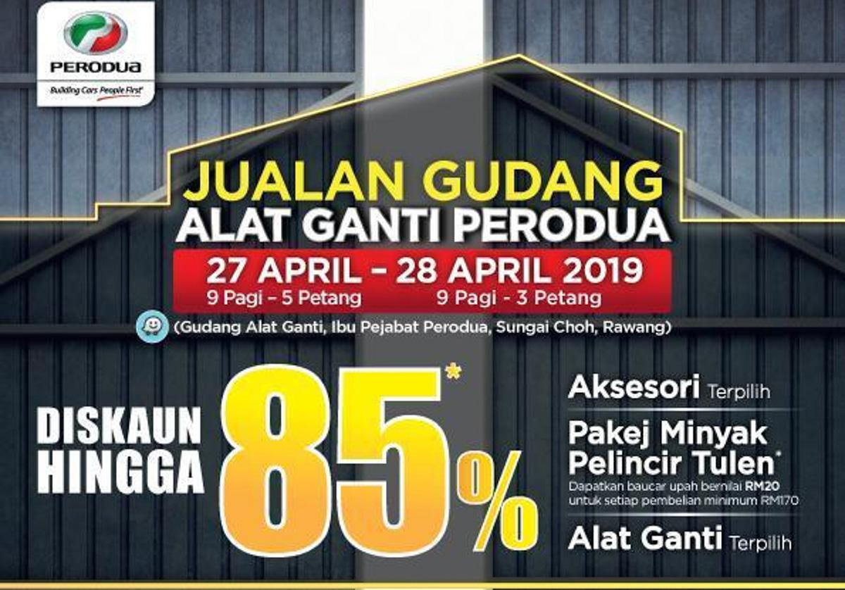 Perodua 的车主们,这里有项好消息要和你们分享— Perodua 将在这个月27日与28日一连两天在自家位于雪兰莪州万挠(Rawang)总部的零件仓库举办仓库大倾销,除了旗下车款的替换零件以外还有特定的汽车饰品也将折价出售,最高折扣达到85%!