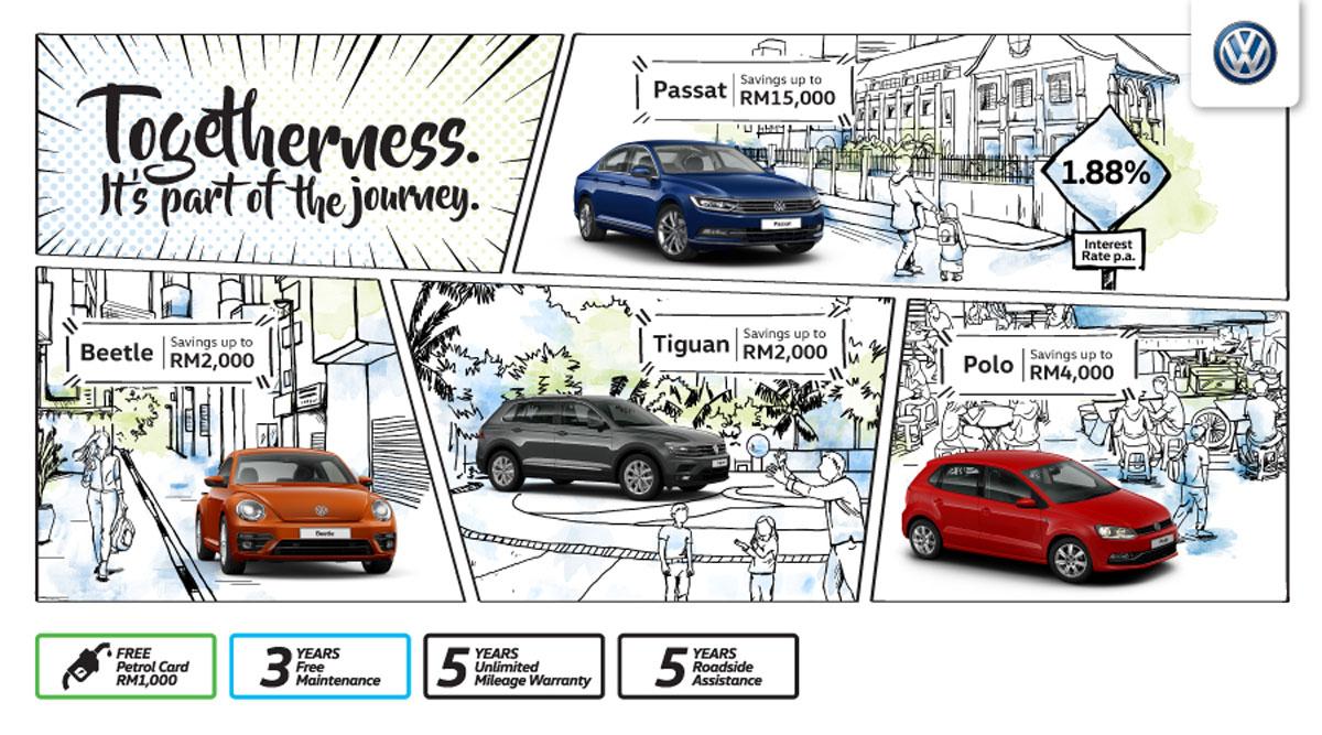 "Volkswagen 欢庆""togetherness""团结精神,旗下车款都有大促销!"