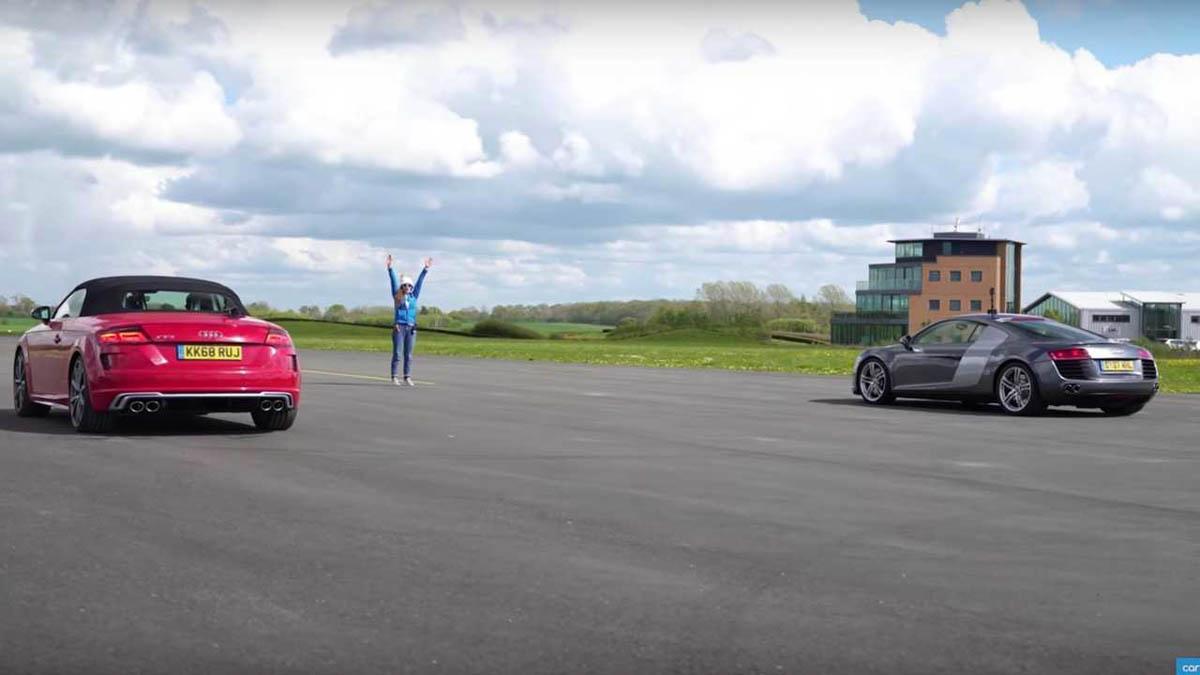 家族大比拼,Audi TTS 挑战大哥 Audi R8,谁会是赢家。