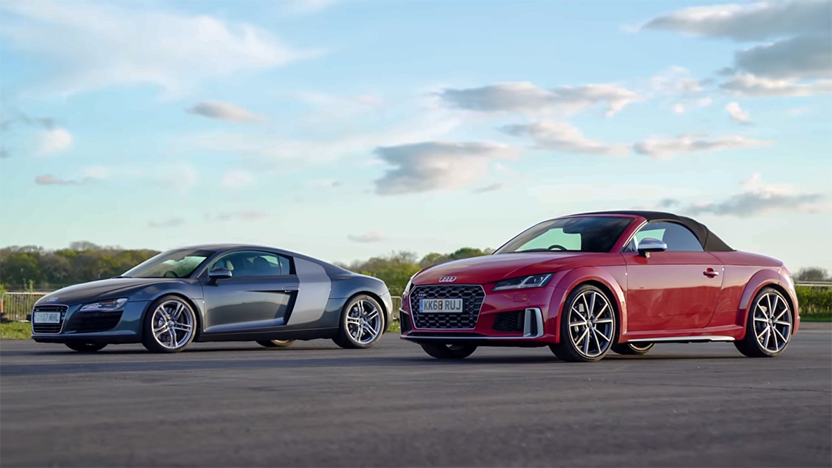 家族大比拼,Audi TTS 挑战大哥 Audi R8 ,谁会是赢家。