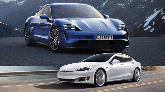 Porsche Taycan Turbo S 大战 Tesla Model S P100D , Tesla 完败